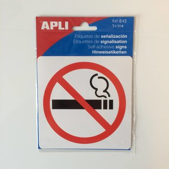 Apli APLI Signs - Nr 00845 - No Smoking - afmeting 114x114mm zelfklevend