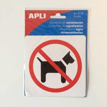 Apli APLI Signs - Nr. 00846 - No Dogs - afmeting 114x114mm zelfklevend