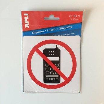 Apli APLI Signs - Nr. 00848 - No Cell. Phone - afmeting 114x114mm zelfklevend
