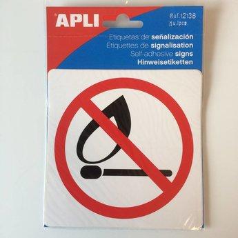 Apli APLI Signs - Nr 12138 - Verboden voor open vlam - afmeting 114x114mm zelfklevend