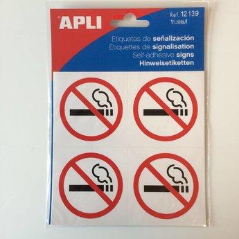 Apli APLI Signs - Nr 12139 - Roken Verboden - afmeting 114x114mm zelfklevend, echter verdeeld in 4 kleinere stickers van 57x57mm elk.