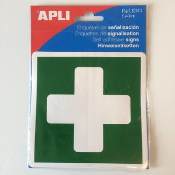 Apli APLI Signs - Nr 12141 - First Aid - afmeting 114x114mm zelfklevend - Label of outdoor application, ideal for labelling first aid kits in the home and office