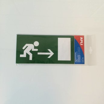 Apli APLI Signs - Nr. 12375   Sign labels/EMERGENCY EXIT RIGHT, afmeting 115x230mm.Special adhesive label for signposting escape routes and emergency exits.