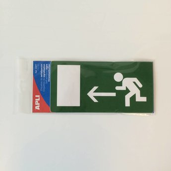 Apli APLI Signs - Nr. 12377   Sign labels/EMERGENCY EXIT LEFT, afmeting 115x230mm.Special adhesive label for signposting escape routes and emergency exits.