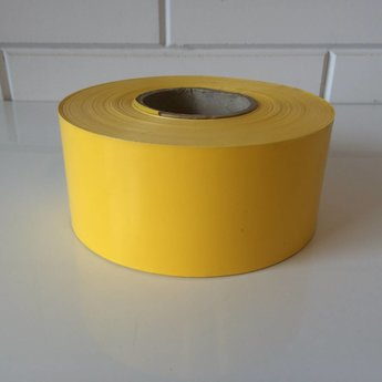 Afbakeningslint - afzetlint 250 m x 8cm geel. Materiaal is van Polyethyleen, het is grondwaterneutraal en milieuvriendelijk.