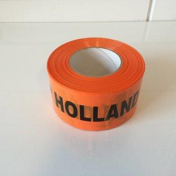 Afbakeningslint - afzetlint 250 m x 75mm Oranje bedrukt:  HUP HOLLAND HUP.   Materiaal is van Polyethyleen, het is grondwaterneutraal en milieuvriendelijk.