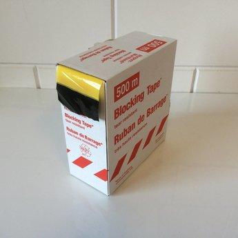 Afbakeningslint - afzetlint 500 m x 8cm geel/zwart. Materiaal is van Polyethyleen, het is grondwaterneutraal en milieuvriendelijk.