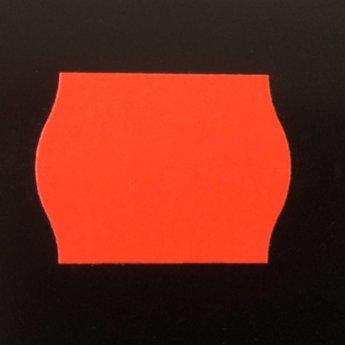 Etiket 22x16 golfrand fluor rood permanent  doosinhoud 42.000 etiketten.  42 Rollen