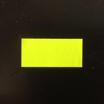 Etiket 26x12 rechthoek fluor geel permanent 2slit  54.000 etiketten.  (36 rollen