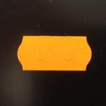 Etiket 26x12 golfrand fluor oranje permanent  2-sl  54.000  (=36 rollen a 1500 etiketten) Geschikt voor Meto. Gommering / kleefkracht 2