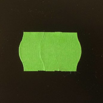 Etiket 2516 groen permanent golfrand antidiefstalstanzing/veiligheidsstansing/security cuts/anti-diefstal in het etiket ( 3-delig) , doosinhoud 39.600 etiketten. ( 36 rollen