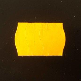 Etiket 2516 fluor oranje permanent met antidiefstalstanzing/veiligheidsstansing/security cuts/anti-diefstal en 2-slit golfrand  39.600 etiketten ( 36 rollen