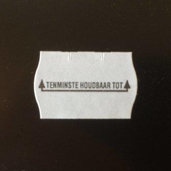 Etiket 2516 wit permanent 2-slit golfrand bedrukt >> Tenminste houdbaar tot: << 39.600 etiketten ( 36 rollen