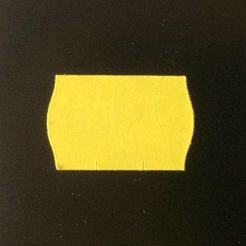 Etiket 2516 geel permanent golfrand antidiefstalstanzing/veiligheidsstansing/security cuts/anti-diefstal in het etiket ( 3-delig) , doosinhoud 39.600 etiketten. ( 36 rollen