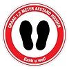 (DUTCH PRODUCT) Pictogram sticker: Feet please keep 1,5m distance