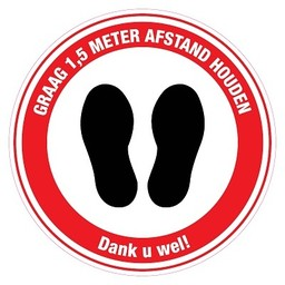 (DUTCH PRODUCT) Pictogram sticker: Feet please keep 1,5m distance