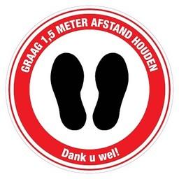 Pictogram sticker: Voeten graag 1,5m afstand. Diameter 10cm