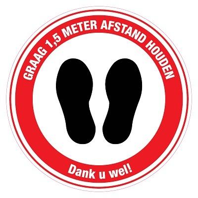 (DUTCH) Pictogram sticker LARGE: Feet please keep 1,5m distance