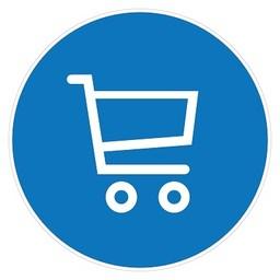 Pictogram sticker GROOT: Gebruik winkelwagen verplicht