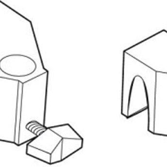 Klem voor draadmand voor aan draadmand, 2-delig voor bovenkant en aan onderkant, hier kan een verstelbare of vaste buis doorgeschoven worden (artikel  12017500) Dit wordt niet meegeleverd, moet apart besteld worden.