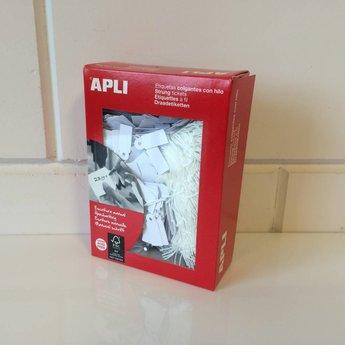 Apli Apli-nr. 00383  Hangetiket met koord  7x19 mm  1000 stuks. Om te beschrijven met pen, van prijs of nummer.