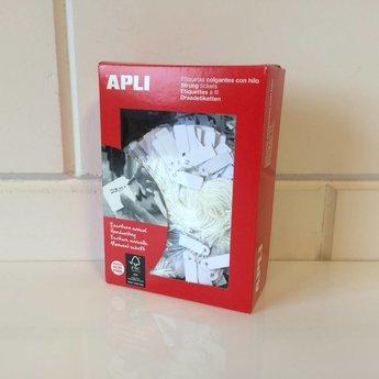 Apli Apli-nr. 00384  Hangetiket met koord  9x24 mm  1000 stuks. Om te beschrijven met pen, van prijs of nummer.