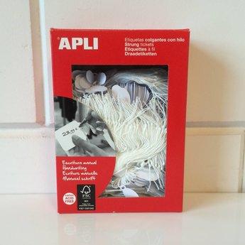 Apli Apli-nr. 00382  Hangetiket met koord 11x24 mm  1000 stuks. Om te beschrijven met pen, van prijs of nummer.