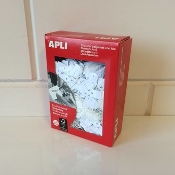 Apli Apli-nr. 00387  Hangetiket met koord 13x20 mm  1000 stuks. Om te beschrijven met pen, van prijs of nummer.