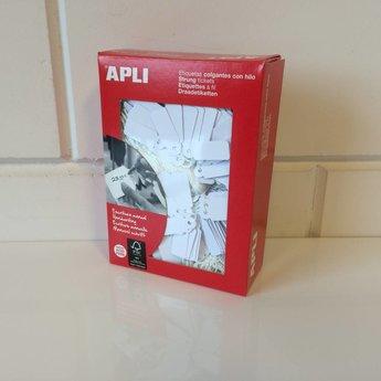 Apli Apli-nr. 00386  Hangetiket met koord 13x34 mm  1000 stuks. Om te beschrijven met pen, van prijs of nummer.