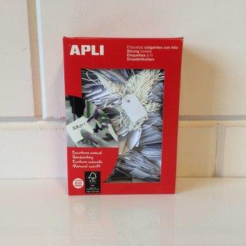 Apli Apli-nr. 00389  Hangetiket met koord 18x29 mm 1000 stuks.  Om te beschrijven met pen, van prijs of nummer.