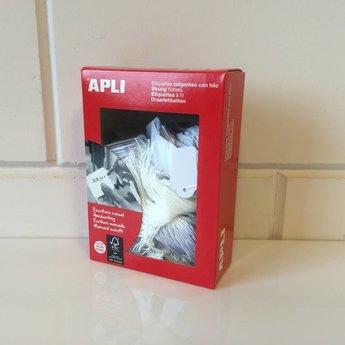 Apli Apli-nr. 00390  Hangetiket met koord 22x35 mm  500 stuks. Om te beschrijven met pen, van prijs of nummer.