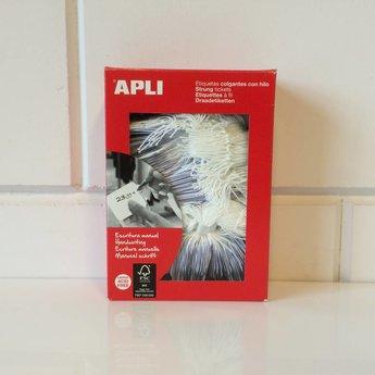 Apli Apli-nr. 00391  Hangetiket met koord 28x43 mm   500 stuks. Om te beschrijven met pen, van prijs of nummer.