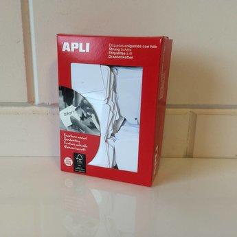 Apli Apli-nr. 00392  Hangetiket met koord 36x53 mm  500 stuks. Om te beschrijven met pen, van prijs of nummer.