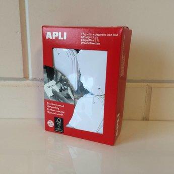 Apli Apli-nr. 00395  Hangetiket met koord 45x65 mm   400 stuks. Om te beschrijven met pen, van prijs of nummer.