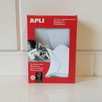 Apli Apli-nr. 00396  Hangetiket met koord 50x70 mm  400 stuks. Om te beschrijven met pen, van prijs of nummer.