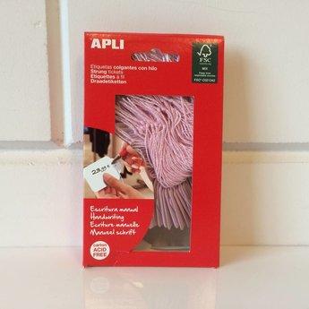 Apli Apli-nr. 12929  Hangetiket met koord 22x35 mm, kleur ROSE 100 stuks. Om te beschrijven met pen, van prijs of nummer.