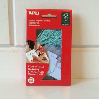 Apli Apli-nr. 12930  Hangetiket met koord 22x35 mm, kleur BLAUW 100 stuks. Om te beschrijven met pen, van prijs of nummer.