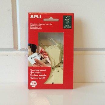 Apli Apli-nr. 12931  Hangetiket met koord 22x35 mm, kleur GEEL 100 stuks. Om te beschrijven met pen, van prijs of nummer.