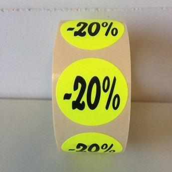 Etiket fluor geel 27mm -20 procent 500/rol, kleefkracht permanent. Kortingsetiketten, procentetiketten, afprijs-etiketten.