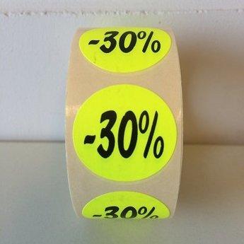Etiket fluor geel 27mm -30 procent 500/rol, kleefkracht permanent. Kortingsetiketten, procentetiketten, afprijs-etiketten.
