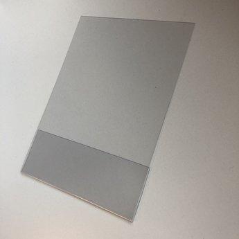 Folie  860x1215 mm 1-zijdig ontspiegeld PVC dikte 0.5 mm + omgebogen flap