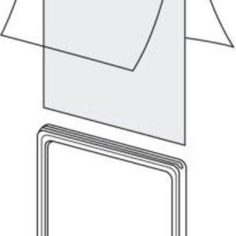 Hoes voor prijskaartraam Din A4 2-zijdig. Dubbelgeslagen folie, vouw aan 1 korte zijde, dus aan 3 zijden open.