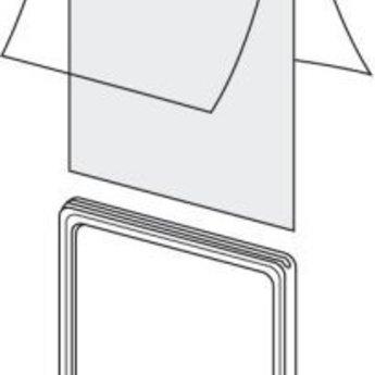 Hoes voor prijskaartraam Din A6 2-zijdig. Dubbelgeslagen folie, vouw aan 1 korte zijde, dus aan 3 zijden open.