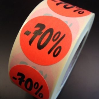 Etiket fluor rood rond 27mm diameter -70 procent   500/rol, kleefkracht permanent. Kortingsetiketten, procentetiketten, afprijs-etiketten.
