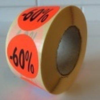 Etiket fluor rood rond 27mm diameter -60 procent   500/rol, kleefkracht permanent. Kortingsetiketten, procentetiketten, afprijs-etiketten.