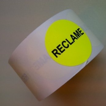 Etiket fluor geel 35mm bedrukking: RECLAME, aantal 500 per rol