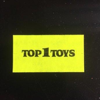 Etiket 37x19 fluor geel afneembaar bedrukt in zwart:  TOP 1 TOYS  -  25 Rollen per doos