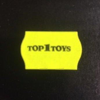 Etiket 2616 Top1Toys fluor geel met zwarte bedrukking in het midden:  Top 1 Toys , kleefkracht afneembaar. 36 Rollen per doos.