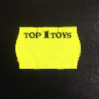 Etiket 2616 TOP 1 TOYS fluor geel semie-permanent met bedrukking in zwart boven aan op het etiket:  Top 1 Toys