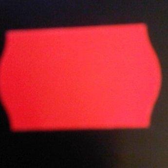 Etiket 2516 fluor rood semie/permanent met antidiefstalstanzing/veiligheidsstansing/security cuts/anti-diefstal en 2-slit golfrand  39.600 etiketten ( 36 rollen
